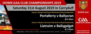 Big day for senior Hurlers with local Derby !! and in Pairc Aodha Dhuib we have two Championship games !