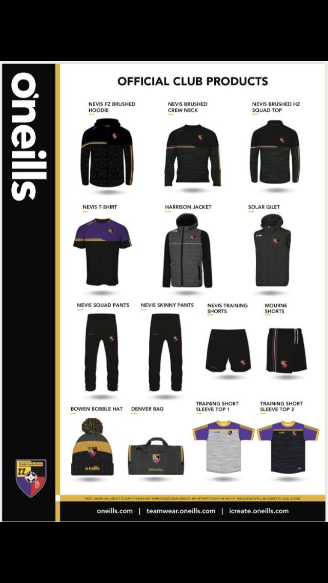 Carryduff GAC new leisurewear from O'Neills