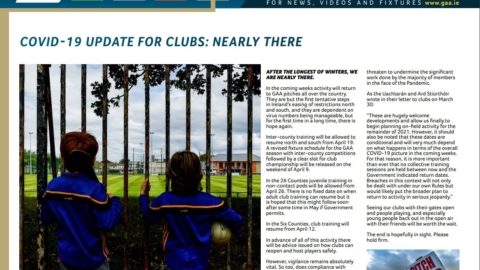 GAA Club Newsletter – April 2021